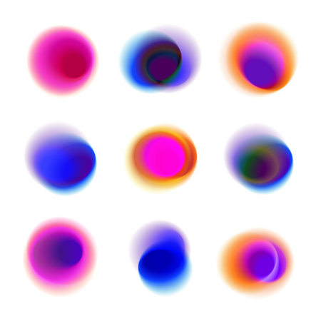 Set of gradient circles of vibrant colors. Red, pink, purple, blue transparent dots. Rainbow colored collection of blurred round spots on white background.