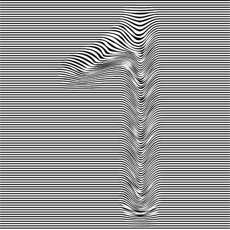 Striped typeface with geometrical pattern character 1 of a numbers font. Vector lettering with glitch effect, black horizontal distorted digital stripes on transparent background.