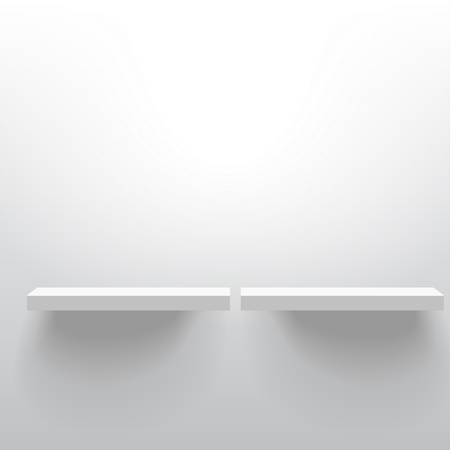 Two white realistic vector shelves attached to the wall. Advertising equipment mock-up in 3d style. Empty template for product display. Exhibition furniture, isolated, light grey colored.