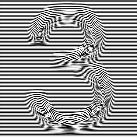 Striped typeface with geometrical pattern character 3 of a numbers font. Vector lettering with glitch effect, black horizontal distorted digital stripes on transparent background. Ilustração