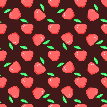 Food fashion design with healthy fruits evenly distributed on burgundy backdrop, vector texture. Red apples on maroon background, seamless pattern.