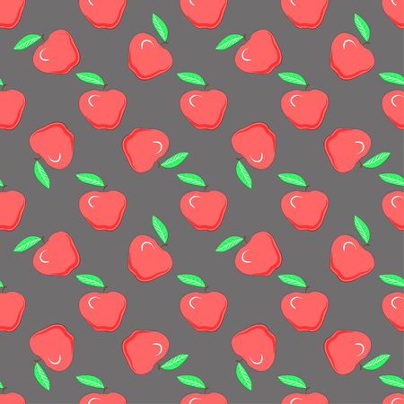 Food fashion design with healthy fruits evenly distributed on dark backdrop, vector texture. Red apples on gray background, seamless pattern.