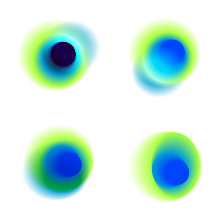 Vector set of gradient circles of vibrant colors. Peacock colored collection of blurred holes on white background. Green, blue, turquoise, transparent spots and dots.