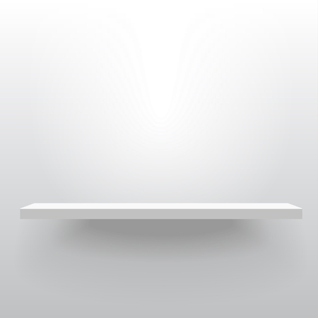 White realistic vector shelf attached to the wall. Advertising equipment mock up in 3d style. Empty template for product display. Exhibition furniture, isolated, light gray colored.
