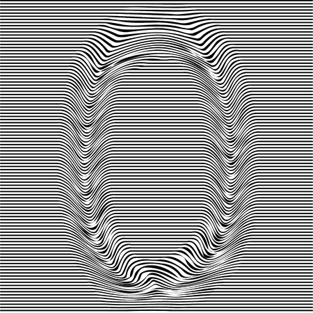 Striped typeface with geometrical pattern letter 0 of a numbers font. Vector lettering with glitch effect, black horizontal distorted digital stripes on transparent background. Ilustração