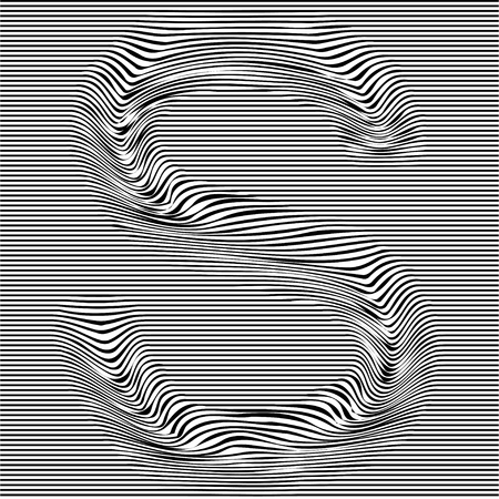 Striped typeface with geometrical pattern letter S of a Latin font. Vector lettering with glitch effect, black horizontal distorted alphabet stripes on transparent background.