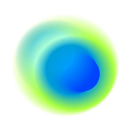 Mancha radial de color azul con textura redonda de color pavo real. Círculo verde del gradiente aislado en el fondo blanco. Patrón de vector de agujero borroso turquesa. Foto de archivo - 93452540