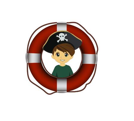 pirate with lifebuoy Illusztráció