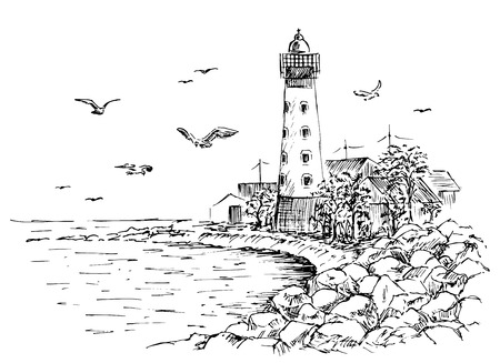 Landscape sketch of the lighthouse and the sea. Gulls, trees, house. Lighthouse sketch. Hands drawn to the rocky beach.