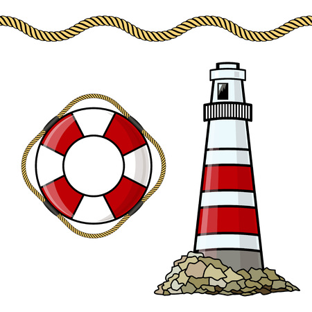 The lighthouse, life buoy isolated on white background. Vector illustration. Иллюстрация