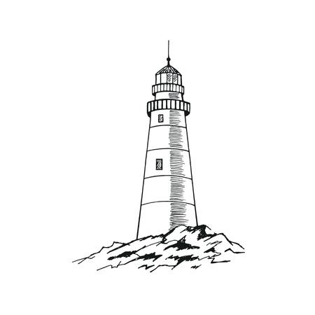 Szkic latarni morskiej. Ręcznie rysowane ilustracji wektorowych. Ilustracje wektorowe