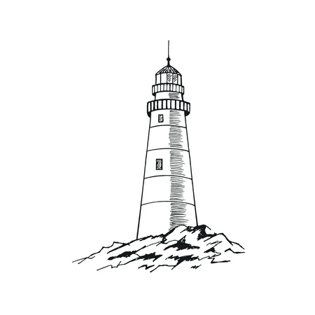 The lighthouse sketch. Hand drawn vector illustration. Stockfoto - 100359372