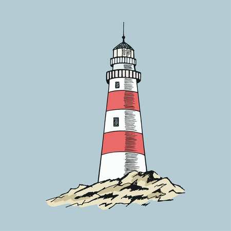 Szkic latarni morskiej. Ręcznie rysowane ilustracji wektorowych.