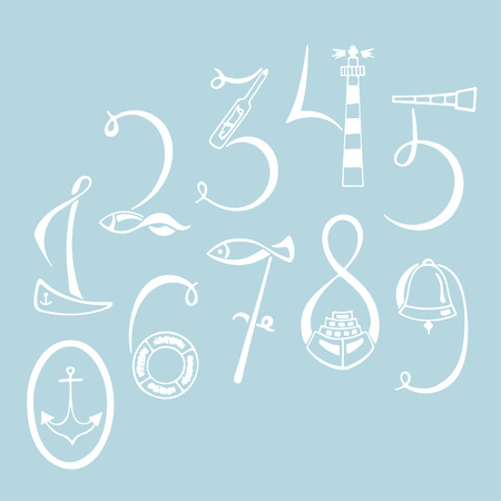Set of the marine numerals. Hand drawn vector illustration. Sailboat, life preserver, lighthouse, fish, a telescope, a bell, hat, anchor, ship. Lettering 1, 2, 3, 4, 5, 6, 7, 8, 9, 0 marine elements.