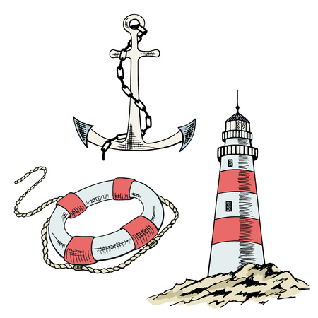Anchor, boat,  lifebuoy, lighthouse, ship, sailboat sketch set. Hand drawn vector illustration. Illustration