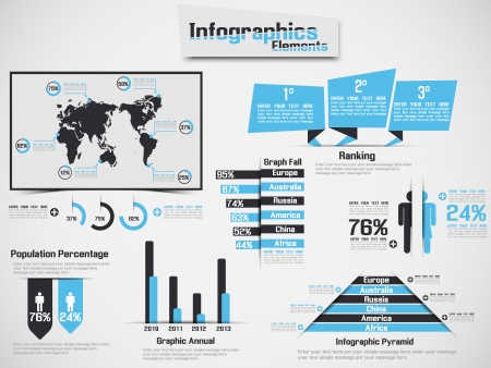 INFOGRAPHIC DEMOGRAPHIC ELEMENT WEB NEW STYLE HEAVENLY Illustration