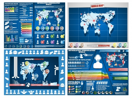 COLLECTION OF FOUR INFOGRAPHICS DEMOGRAPIC WORLD MAP