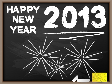 HAPPY NEW YEAR 2013 BLACKBOARD Illustration
