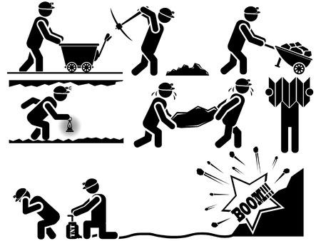 mineros: MINEROS icono del hombre Vectores