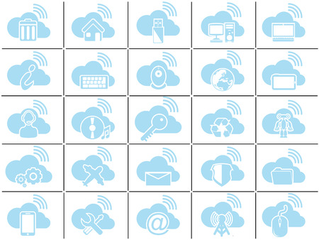 businnes: ICONS CLOUD COMPUTING BLUE Illustration