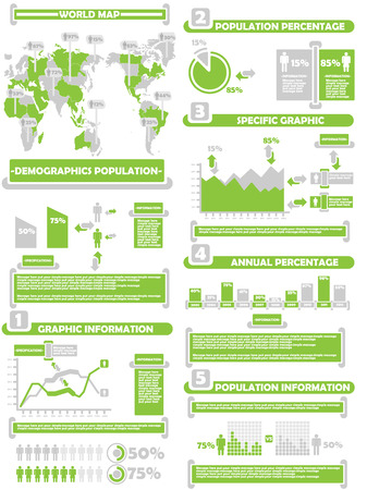 INFOGRAPHIC DEMOGRAP WORLD PERCENTAGE GREEN