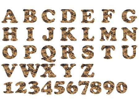 ALPHABET MILITARY BROWN Illustration