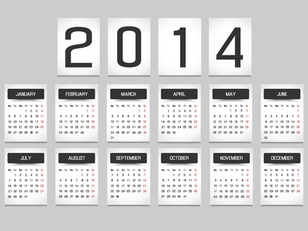 CALENDAR 2014 SIMPLE TEXT BACKGROUND BLACK Vector
