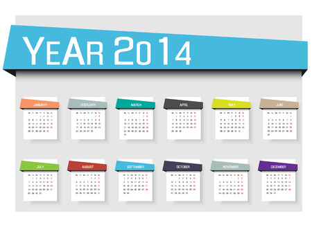CALENDAR 2014 SIMPLE TEXT BACKGROUND MULTICOLOR 2