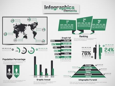 demografico: Infograf�a DEMOGR�FICA ELEMENTO WEB NUEVO ESTILO VERDE Vectores