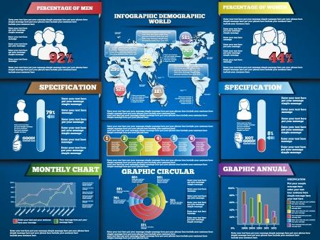 demographic: Infografica DEMOGRAFICA MODERN STYLE BLU Vettoriali