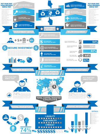 INFOGRAPHIC DEMOGRAPHICS BUSINESS BLUE Illustration