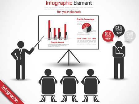 INFOGRAPHIC CONFERENCE MAN BUSINESS RED