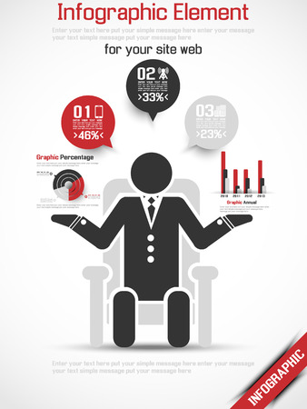 INFOGRAPHIC MAN BUSINESS RANKING 2 RED Illustration