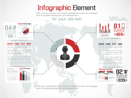 INFOGRAPHIC MODERN PEOPLE BUSINESS ECONOMY NEW STYLE  RED