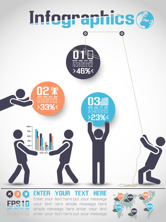 INFOGRAPHICS MODERN BUSINESS BUBBLE ICON MAN STYLE  Illustration