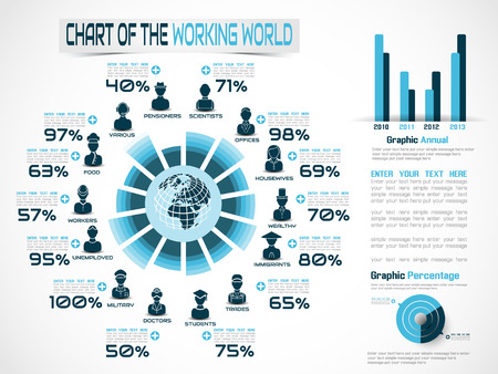 INFOGRAPHIC WORKERS IN THE WORLD BLUE 2 Illustration