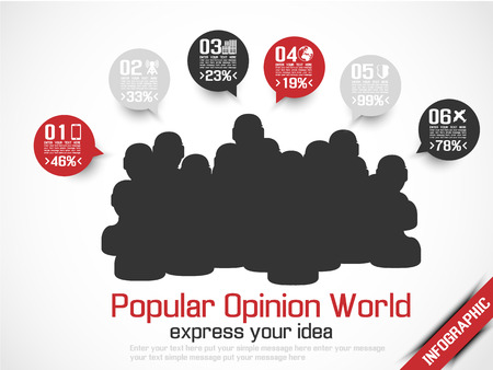 INFOGRAPHIC WORLD POPULATION IDEA MODERN STYLE RED