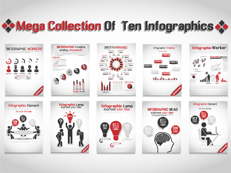MEGA COLLECTION OF TEN INFOGRAPHIC BUSINESS RED Illustration