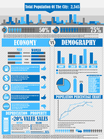 land development: INFOGRAPHICS CITY BLUE Illustration