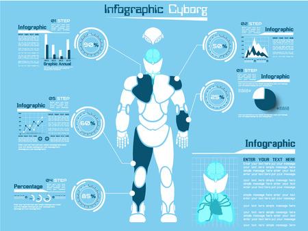 INFOGRAPHIC TECHNOLOGY CYBORG MAN  Vector