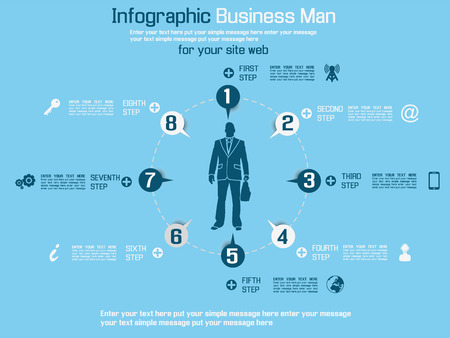 special edition: INFOGRAPHIC BUSINESS MAN SPECIAL EDITION BLUE Illustration