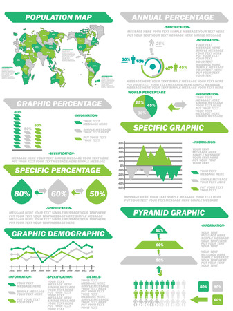 demografico: Infograf�a DEMOGR�FICA ELEMENTOS NEW GREEN Vectores