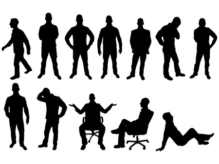 man standing: BUSINESS MAN SILHOUETTE