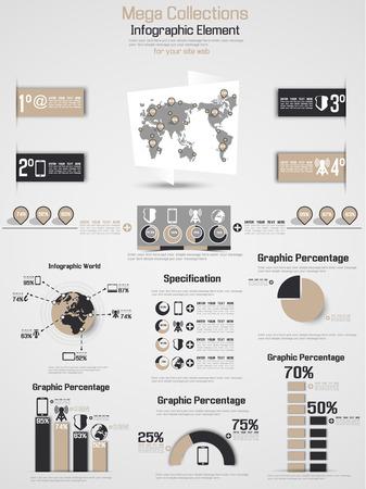 RETRO INFOGRAPHIC DEMOGRAPHIC WORLD MAP ELEMENTS Stock Vector - 28024296
