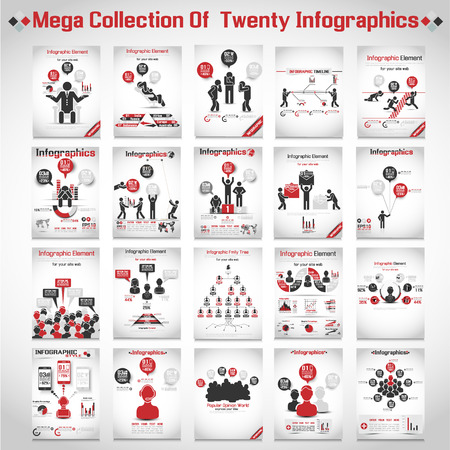 modern business: MEGA COLLECTIONS OF TEN MODERN ORIGAMI BUSINESS ICON MAN STYLE OPTIONS BANNER 3 RED