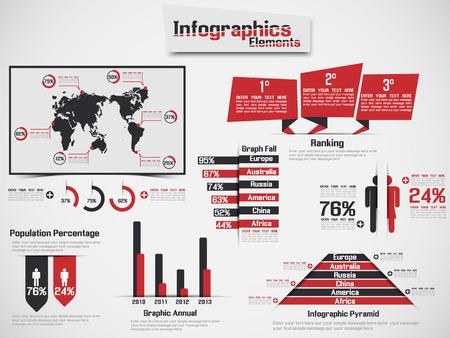 demografico: Infograf�a DEMOGR�FICA ELEMENTO WEB NUEVO ESTILO ROJO Vectores