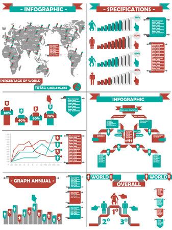 demografico: Infograf�a DEMOGR�FICA RTERO LABBEL RED Vectores
