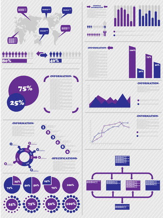 demographics: INFOGRAPHIC DEMOGRAPHICS 5 PURPLE Illustration