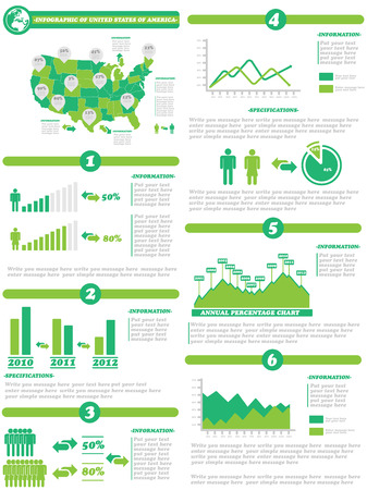 demographics: INFOGRAPHIC DEMOGRAPHICS OF STATES OF AMERICA GREEN Illustration