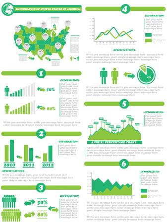 demographics: INFOGRAPHIC DEMOGRAPHICS OF STATES OF AMERICA GREEN Illustration